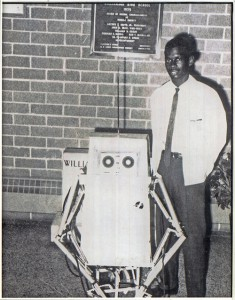 Lonnie Johnson with his robot, Linex, in 1968.